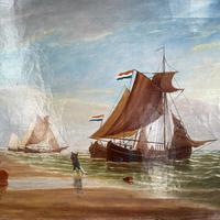 Antique Marine Seascape Coastal Oil Painting of Dutch Sailing Barges Signed J Witham 1898 (4 of 10)