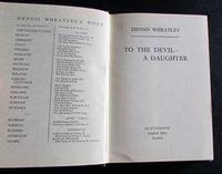 1953 1st Edition - To The Devil A Daughter by Dennis Wheatley with Original Dust Jacket (2 of 4)