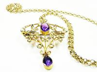 Antique Gold Amethyst And Seed Pearl Necklace (8 of 8)