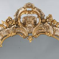 19th Century French Painted & Parcel - Gilt Overmantle Mirror (2 of 12)