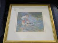 """Pastel Drawing """"Serious Fishing"""" Artist Rachel C. Rowe (3 of 5)"""