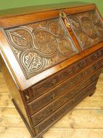 Antique Carved Oak Writing Bureau Desk with Fall Front, Handsome Gothic Piece (14 of 24)