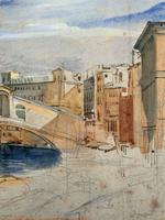 Large Early 1900s Venetian Venice Landscape Watercolour Study Sketch Painting (5 of 14)