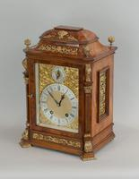 Fine quality burr walnut bracket clock by Lenzkirch of Germany, with a quarter chiming movement c.1903 (12 of 14)