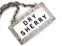 Pair of Rectangular Silver Sherry Decanter Labels with Blue Enamel Lettering (2 of 5)