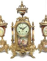 Vintage Sevres Mantel Clock Garniture 8 Day Striking Ormolu Mantel Clock (3 of 14)