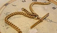 Victorian Pocket Watch Chain 1890s Antique 12ct Rose Gold Filled Albert With T Bar (7 of 12)