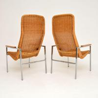 Pair of Vintage Chrome & Rattan Armchairs by Dirk Van Sliedrecht (5 of 11)