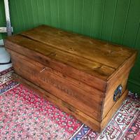 Antique Victorian Pine Chest Rustic Industrial Wooden Trunk + Key + Original Interior (5 of 12)