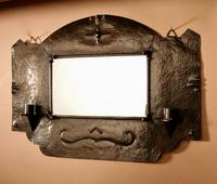 Amsterdam School Hammered Copper Wall Mirror / Sconces (10 of 13)