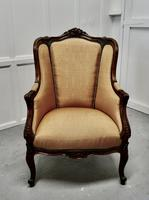 French Carved Walnut & Salon Chair, Upholstered in Silk (4 of 10)