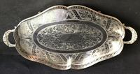 Silver Plated Serpentined  Two Handle Galleried Tray (7 of 8)