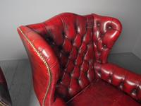 Pair of Red Leather Button Back Wing Chairs (8 of 11)