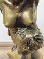 Art Deco French Signed Gilt Bronze 2 Female Nude Mermaids Swimming Statue c.1930 (7 of 41)