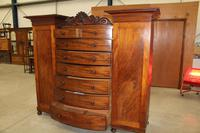 1900s Large Mahogany Bow Front Wardrobe with Drawers