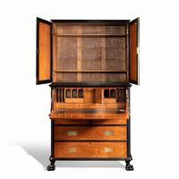 Anglo-Chinese Camphor & Ebony Campaign Secretaire Bookcase (9 of 15)