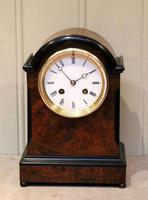 Small Victorian Burr Walnut Mantel Clock (2 of 10)