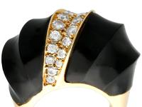 Onyx and 1.06 ct Diamond, 18 ct Yellow Gold Dress Ring - Vintage Circa 1960 (9 of 9)