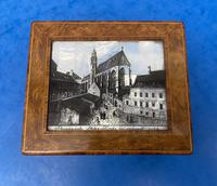 1920s Burr Cedar Box with Engraved Mother of Pearl Panel to the Top of a Cathedral (8 of 8)