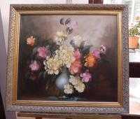 Large Oil on Canvas Bowl of Roses Signed (free Shipping to Mainland England (11 of 12)