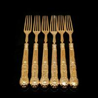 Antique Victorian Solid Silver Gilt Fruit / Dessert Knives & Forks Set of Six in Queens Pattern - Aaron Hadfield 1839 (19 of 32)