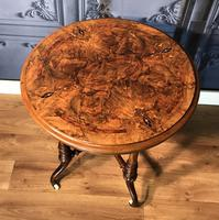 Victorian Burr Walnut & Marquetry Occasional Table (3 of 10)