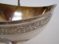 George III Oval Silver Sugar Basket with a Reeded Swing Handle (4 of 7)