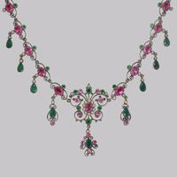 Victorian Pearl Pink & Green Paste Necklace Antique Austro Hungarian Swag & Scroll Necklace (2 of 7)