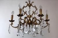 Antique French Large & Heavy Chandelier Gilt Bronze Ceiling Light with Crystal Droplets (5 of 7)