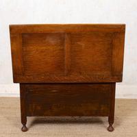 Oak Monks Bench Settle Carved Folding Hall Arts & Crafts (9 of 12)