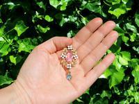8.84ct Pink Topaz, 1.80ct Aquamarine, 0.10ct Ruby & Enamel, 15ct Yellow Gold Pendant - Antique c.1910 (2 of 9)