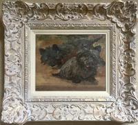 Joseph Dixon Clark Oil Painting 'Cairn Terriers' (2 of 3)