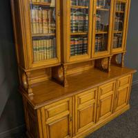Edwardian Oak Breakfront Bookcase with Open Central Section (6 of 10)
