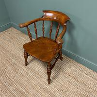 Elm Early Victorian Antique Smokers Bow Arm Chair (3 of 7)