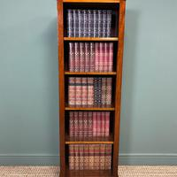 Tall Slim Victorian Mahogany Antique Open Bookcase (2 of 6)