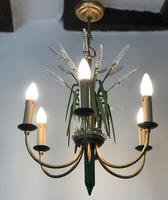 Vintage Art Deco Style Murano & Toleware Wheatsheaf Ceiling Light Chandelier (3 of 12)