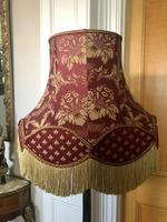 Antique Chinoiserie Black Lacquered, Hand Painted Floor Lamp with Shade (7 of 10)