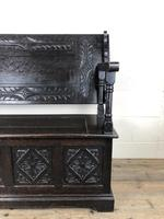 Early 20th Century Stained Oak Monk's Bench (14 of 14)