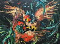 Stunning Original 1970s Vintage Abstract  Acrylic Painting Cocks Fighting - Game (10 of 15)