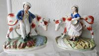 Pair of Antique English Victorian Staffordshire Pottery Figures - Milkman & Milkmaid with Cows - H 2314d / H 2314c (13 of 13)