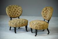 Pair of Victorian Ebonised Salon Chairs (5 of 7)