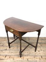 Antique Oak Demi-lune Console Table (9 of 14)