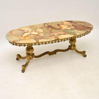Antique French Style Brass & Onyx Coffee Table (2 of 9)