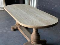 Large French Bleached Oak Monastery Dining Table (10 of 18)