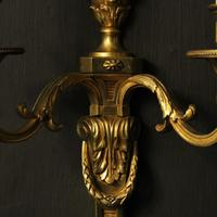 French Set of 3 Twin Arm Antique Wall Lights (9 of 10)