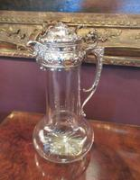 Antique Solid Silver Mounted Claret Jug