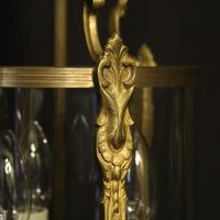 French Gilded Convex Triple Light Antique Hall Lantern (8 of 10)