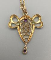 9ct Yellow Gold Amethyst & Peridot Pendant & Chain (4 of 6)