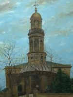 "19th Century English Oil Painting View ""St Marys Church Banbury Oxfordshire"" (13 of 24)"
