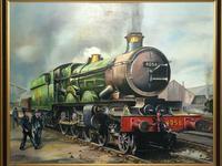Oil Painting Railway Train Engine Princess Margaret 4056 With Figures Signed Ken Allsebrook (5 of 13)